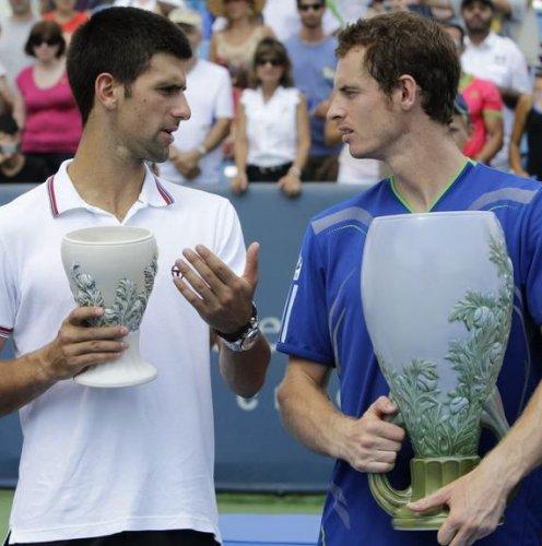Serbian Novak Djokovic (left)