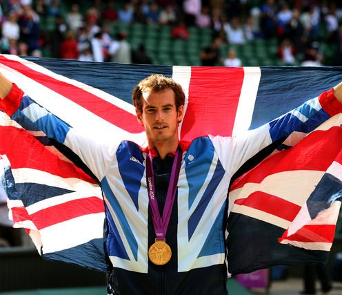 Gold medalist Andy Murray of