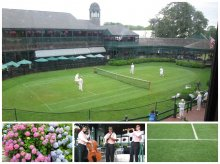 A sweet demonstration of lawn tennis as it was played back in the day - plus the flowers, the musicians, that green grass - a great scene.