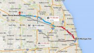 It's a bit of a commute from Chicago to the Sears Centre - especially at rush hour (GoogleMaps)