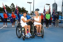 Jordanne Whiley became the first British wheelchair tennis star to complete a calendar year Grand Slam after partnering Yui Kamiji to all four Grand Slam titles in 2014 ©Getty Images