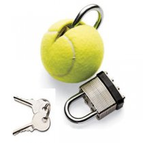Tennis ball with lock and keys