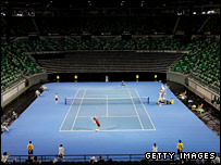 The 'Australian TrueBlue' Plexicushion court at Rod Laver Arena