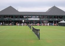 The historic grass courts of the Hall of Fame Tennis Club.