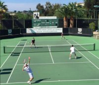 The Lieb brothers defeated Harvard-Westlake's first doubles team on the stadium court (photo: Jackson Simon)