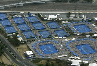Blue Tennis courts Australian Open