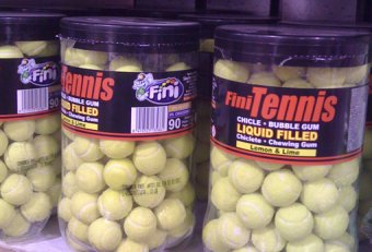 Bubble gum tennis balls
