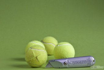 Cut tennis balls chair legs