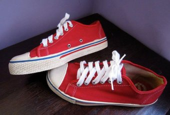 Red Canvas tennis shoes
