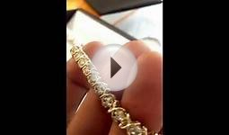 14k Yellow Gold Diamond Tennis Bracelet.