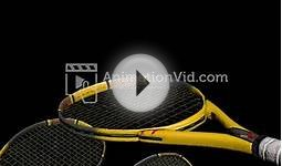 3D Tennis Balls Bouncing Off Racket Motion Wallpaper