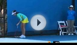 Christina McHale Pukes on tennis court during the Aussie