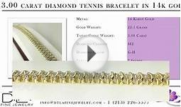 Diamond Tennis Bracelet - 3.00 Carat In 14K Yellow Gold