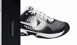 Nike Mens Air Max Cage Tennis Shoes Black/White/Metallic
