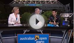 Novak Djokovic on ESPN set after 2013 Australian Open win