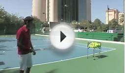 Roger Federer pranks his coach by hitting tennis balls