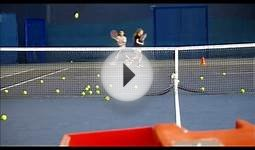 Tennis training with the ball machine