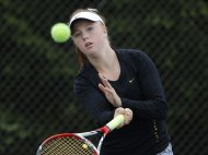 Williamston's Sara Daavettila returns a shot during the Division 3 regional championship Thursday.
